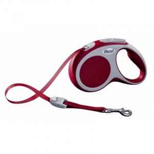 Flexline Vario med bånd, S, 5 M, 15 kg. Rød