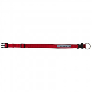 Halsbånd med neopren polstring og adresse Flap L 45-50 cm./25 mm. Rød