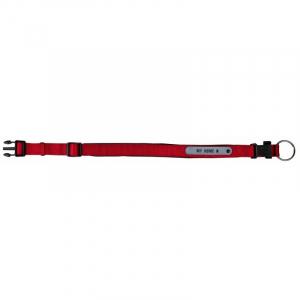 Halsbånd med neopren polstring og adresse Flap S 30-35 cm./20 mm. Rød