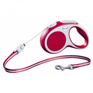 Flexline Vario med snor, M, 5 M, 20 kg. Rød