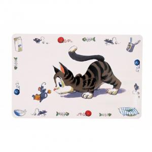 Skåleunderlag kat, plastik 44 x 28 cm. Skridsikker