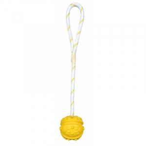 Bold på reb, naturgummi, med håndtag, flydbar. Diverse farver. Ø 7/ 35 cm.