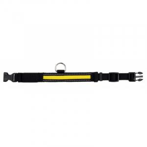 Flash halsbånd til hund. 30-40 cm./25 mm. sort/gul