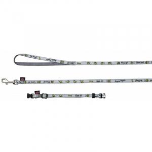 Buddy Halsbånd med line nylon. med syet motiv. Halsbånd 22-35 cm./10 mm. Line 1,2 M/10 mm.