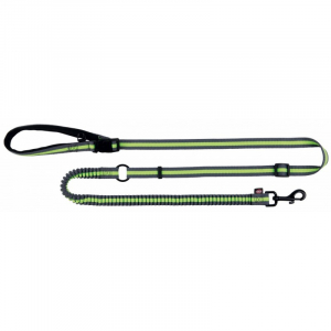 Jogging Line. Støddæmper blødgør pludselige træk af hunden. 133-180 cm./20 mm. Grå/lime