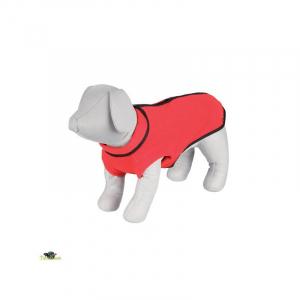 Fleece trøje hund XS Maveomkreds 32 cm. Længde 25 cm. Rød. Med lynlås på ryg.