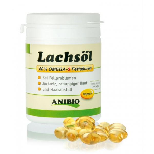 ANIBIO Lachsöl / lakse olie kapsler 180 stk. Afhjælper pelsproblemer, som kløe, hårtab og skællet hud.