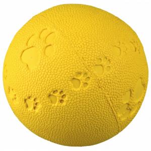 Bold, naturgummi med lyd. Ø 6 cm. Diverse farver. Med poteaftryk i bolden.