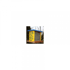 Vildfugle Foder automat Sverige plexiglas/træ 23 x 19 x 20 cm. Blå/gul