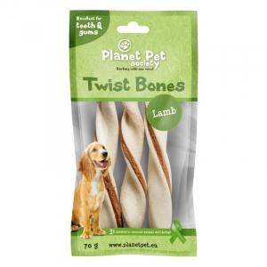 PP Lamb Twist Bones. Planet Pet Society. 70 g (3 stk / 14 cm)