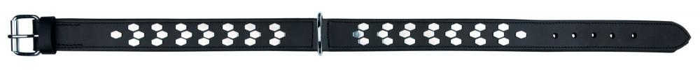 Læderhalsbånd bred. L-XL 55-65 cm/40 mm. Sort