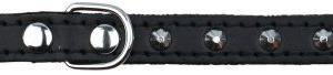 Basic Læder Halsbånd Med Nitter. XS 21-25 cm./12 mm. Sort. Udgår