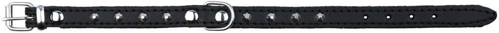Basic Læder Halsbånd Med Nitter. S 30-35 cm./14 mm. Sort. Udgår