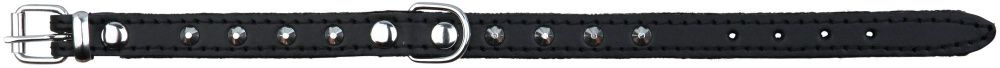 Basic Læder Halsbånd Med Nitter. S-M 33-39 cm./16 mm. Sort. Udgår