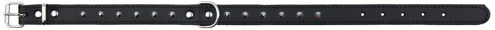 Basic Læder Halsbånd Med Nitter. M-L 38-48 cm./22 mm. Sort. Udgår