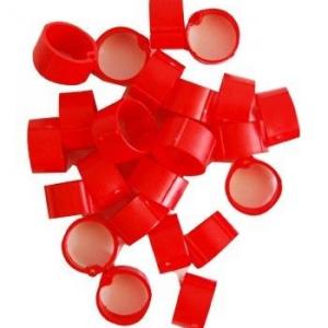 Hønsering plastik. Rød. Ø14 mm.