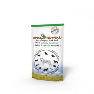 Farmfood fresh menu vådkost til alle hunde. Kallun/hjerte 125 g.